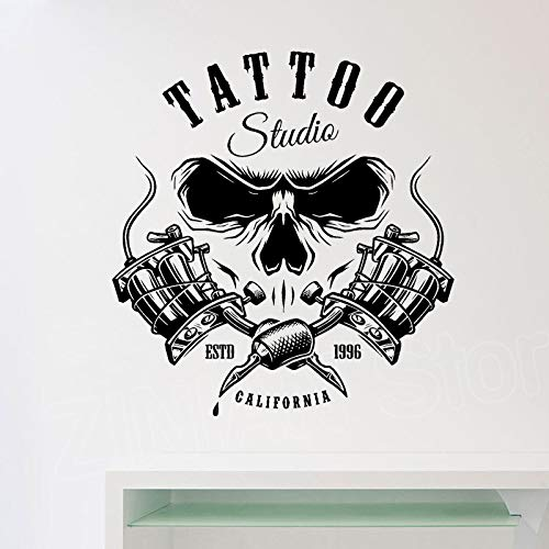 zqyjhkou Vinyl Wandkunst Salon Wandtattoos Tattoo Studio Raumdekoration Selbstklebende Wandtattoo Tapeten Shop Poster Logo D476 57x61 cm