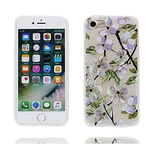 Custodia iPhone 6 Plus/6S Plus 5.5 - La copertura posteriore della cassa di gomma protettiva del silicone TPU del respingente ultra sottile Copertura per iPhone 6s Plus Case 5.5, uccelli Bellissimo fiore porpora