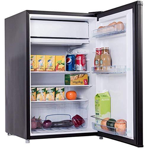 COSTWAY Frigo Combiné Congélateur Réfrigérateur Mini-Réfrigérateur,Capacité123L,230v,50HZ Certification CEL (Noir)