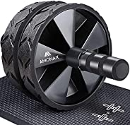 Amonax - Rodillo de rueda para abdominales con alfombrilla grande para ejercitar abdominales, doble rueda con