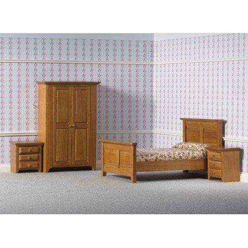 Dolls House 4437 Camera da Letto marrone letto Armadio Comodini 1:12 Casa delle bambole
