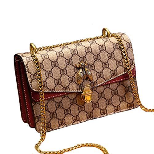 Biene Messenger (Kette Tasche Handtaschen neue 2019 Sommer Mode wilde Schönheit Biene Tasche Lederhandtaschen Schulter Messenger Bag (rot, 21 * 9 * 13cm))