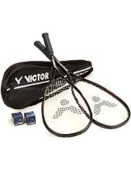 Squashset DELUXE TWO: 2 Squashschläger BLACK DELUXE + 2 Squashballe + Schlägertasche