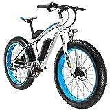 Cyrusher, XF660(500W 48V x 17Ah, Reifengröße E-Mountainbike, Fahrrad, 7Gänge, Scheibenbremsen, 26x 4.0'FAT Tire Snow Bike, für Outdoor Radfahren, weiß/blau