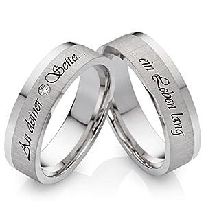 Eheringe Verlobungsringe Trauringe aus 925 Silber mit Zirkonia und gratis Laserravur SZ05L
