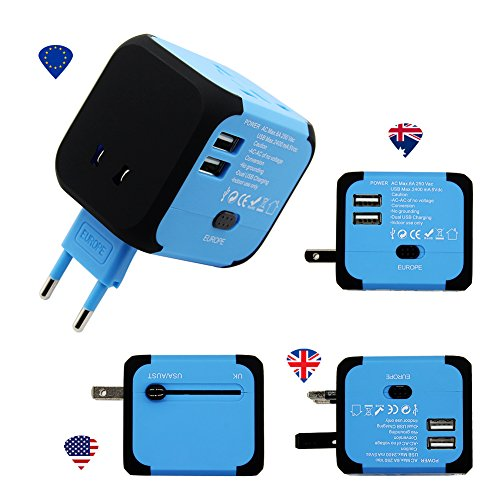 Panboo Reiseadapter World Travel Adapter Universal Weltweit Reisestecker 2 USB für 150 Ländern EU/UK/USA/AU Stecker Australien Brasilien England Dänemark Asien Kanada (No Display-Blau) (Mexiko-handy-fällen)
