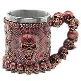 TAOtTAO Goblet Cup Schädel-Krug-Kaffee-Tassen-Schalen-kühler Edelstahl-Tee-Becher-Schale für Becher des Entwurfs-3D (rot)