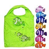 Comfysail 5 Stück Kleiner Fisch Form Faltbare Einkaufstasche Eco Shopping-Bag Reusable Reisetaschen Gelegentliche Farbe