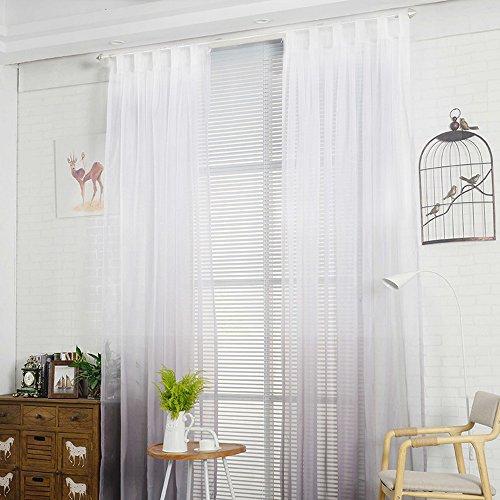 Nibesser Transparent Farbverlauf Gardine Vorhang Schlaufenschal Deko Für  Wohnzimmer Schlafzimmer 1 Stück (160cmx130cm, Weiß Und Grau)