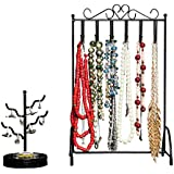 Specialty Styles Necklace Stand & Ring Holder 2-Piece Set Fits on Any Dresser Keeps Jewellery Safe & Handy No-Tip Stability in Versatile Black to Complement Any Decor