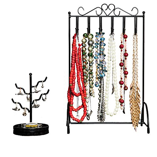 Preisvergleich Produktbild Specialty Styles Necklace Stand & Ring Holder 2-Piece Set Fits on Any Dresser Keeps Jewellery Safe & Handy No-Tip Stability in Versatile Black to Complement Any Decor