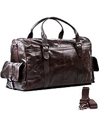 FEYNSINN sac de voyage ASHTON - XL - besace weekend - sac de sport en cuir véritable