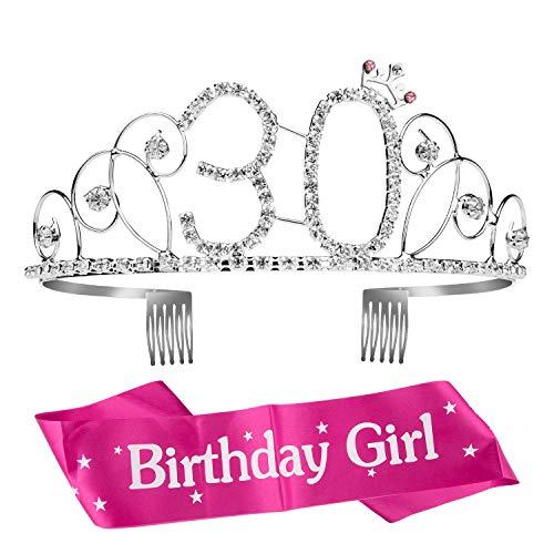ZOEON Geburtstags-Krone 30. Geburtstags Kristall Tiara Krone mit Geburtstags-Schärpe (Geburtstag Tiara 30.)