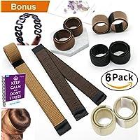 Prämie 6 Pack Mädchen Damen Hair Styling Tool Donut Hair Bun Maker [braun] French Twist Haar Brötchen Styling Braid Halter Werkzeug ** BONUS Haarflechtwerkzeug***