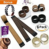 Prämie 6 Pack Mädchen Damen Hair Styling Tool Donut Hair Bun Maker [braun] French Twist Haar Brötchen Styling Braid Halter Werkzeug ** BONUS Haarflechtwerkzeug***