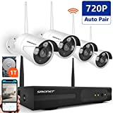 Wireless Security Camera System,Smonet 4CH HD 720P Wireless CCTV Camera Systems (CCTV Kits) with 4pcs 720P Wireless Weatherproof Bullet CCTV Cameras,65ft Night Vision,Plug&Play,1TB HDD Pre-installed
