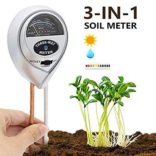RANRANHOME Boden-pH-Meter, 3-in-1-Bodentester-Kits mit Feuchtigkeits-, Licht- und PH-Test für Garten, Bauernhof, Rasen, grau (Keine Batterie) -
