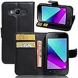 Funda Samsung Galaxy J1 mini prime + Protector de Pantalla, EUGO Funda Cuero Resistente, Soporte Plegable, Ranuras para Tarjetas y Billetes, Estilo Libro, Acceso a Botones