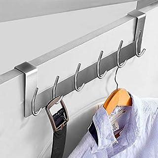 Ecooe Türhängeleiste Türgarderobe Edelstahl Kleiderhaken ohne Bohren mit 6 Haken Hakenleiste für Türfalzstärken bis 2cm