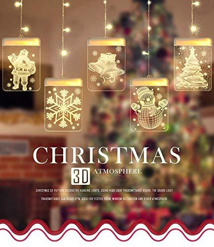 Lypumso LED USB Lichtervorhang,LED Lichterkette 5 Lichter mit Weihnachtsmotiven, Innen- und Außendekoration, passend für Weihnachtsdekorationen, verschiedene party