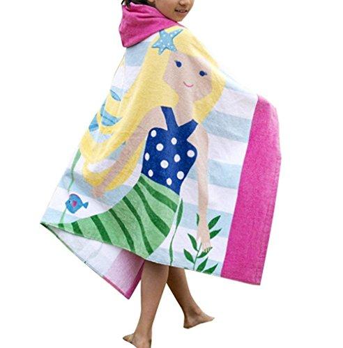 Kinder Kapuzen Badetücher, Morbuy 100% Baumwolle Bademantel Decke Kinder Handtuch Schwimmen Surfen Mädchen Jungen Strand 127 * 76cm/50 * 30 inch (Gelbes Haar Meerjungfrau)
