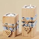 Teelichthalter 2 Stück aus Blauglockenbaum Holz mit Herz Weihnachten 10 cm + 14cm hoch