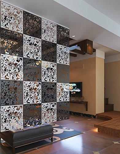 Kernorv Paravent DIY Raumteiler Sichtschutz Trennwand Wanddekorationen Hängende Wandtafel für Dekorations, Wohnzimmer, Arbeitszimmer und Sitzecke, Hotel, Bar Schwarz 12tlg - 4