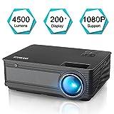 Proyector, WiMiUS Video Proyector 4200 Lúmenes Soporta Full HD 1080P Proyector LED 55000 Horas Proyector HD con 200' Pantalla, Proyector Cine en casa con el Interfaz HDMI/ USB/ VGA/ AV - Negro