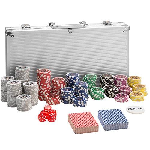 TecTake 402557 Pokerkoffer Pokerset mit Laser Pokerchips im Alu Koffer, 300 Chips, inkl. 2 Kartendecks + 5 Würfel + 1 Dealer Button, Silber