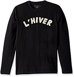 French Connection Mens LHiver Long Sleeved T-Shirt, Black/Clay, XXL