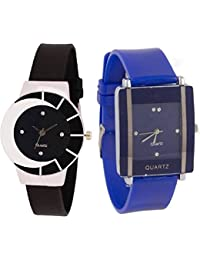 Xforia Girl Watch Rubber Band Black & Blue Dial Watches For Women (Pack Of 2 VS-FLX-538)