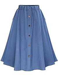 ZhuiKun Falda Larga de Mezclilla con Botones Faldas Vaqueras Plisada para  Mujer 38b65ed6c599