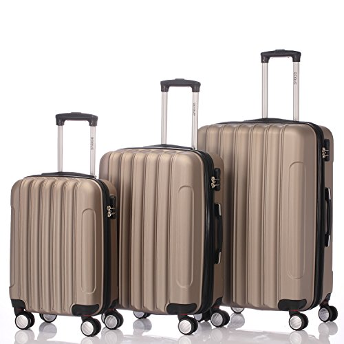 Zwillingsrollen 2050 Hartschale Trolley Koffer Reisekoffer in M-L-XL-Set in 12 Farben (Set , Champagner)