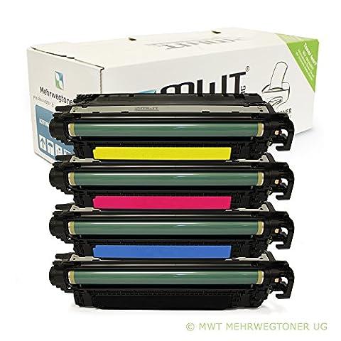 4x MWT XXL Remanufactured Toner Cartouche pour HP Color LaserJet CP 3525 X DN N remplace CE250X-53A