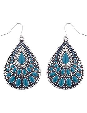 LUX Zubehör Boho brüniert Silber und Blau gegossen Tropfenform baumeln Ohrringe
