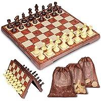 Muscccm Tablero de ajedrez, Juego de Ajedrez 2 en 1 Magnético de Viaje con Portátil de Tablero Plegable para Niños y Adultos(32*32cm)