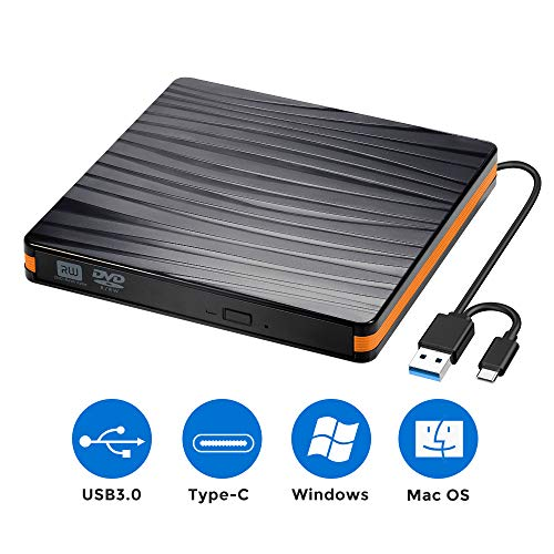 werk Brenner USB 3.0 und Typ-C-Schnittstelle, Tragabar Externe DVD-RW DVD/CD,kompatibel mit Win10 /8/7/XP,Laptop,Mac/MacBook Air/Pro/iMac/PC ()