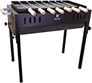 H Hy-tec (Device) Terrace Garden Picnic Barbecue with 7 Skewers & Wooden Handle, 1 Iron Grill & 2 Pack