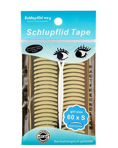 SCHLUPFLID TAPE 'girl size' (S) - Augenlidliftig ohne OP [60Paar], Schlupflid Streifen für schöne offene Augen, Kleine Schönheitshelfer für hängende Augenlider