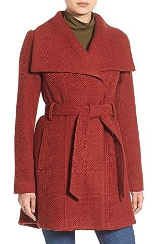 Steve Madden Women's Wool Blend Belted Winter Fashion Dress Wrap Coat - Paprika (Size Medium)