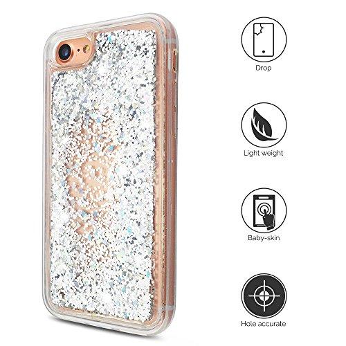iPhone 7 Hülle, iPhone 8 Silikon Schutzhülle, Anfire Bling 3D Transparent Handy Case Hülle Weich TPU Silikon Schutzhülle Kreativ Dynamisch Treibsand Liquid Fließen Flüssig Muster Schale Tasche Glitter Silber