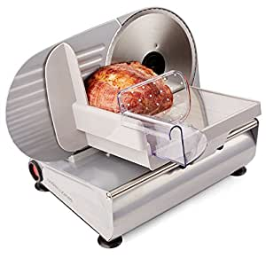 Andrew James Meat Slicer Machine for Home Use - Quiet 150W Electric Motor with 3 Interchangeable Food Slicers - Different Blades for Bread Meat and Cheese - Plastic Blade Guard Non-Slip Feet