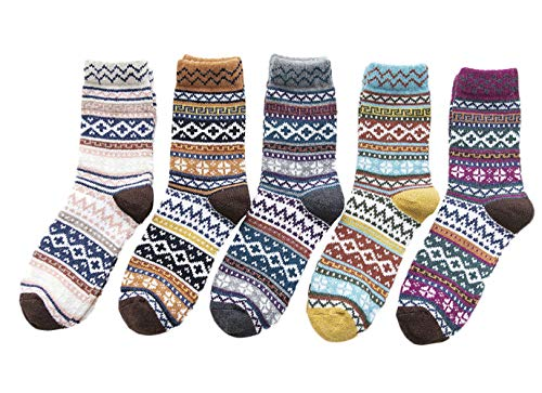 Dawwoti 5 Paia Delle Donne Crew Sock Inverno Comfort Si Fondono Calzini Regalo Di Natale Libero Della Novità Di Formato Stampato Sock