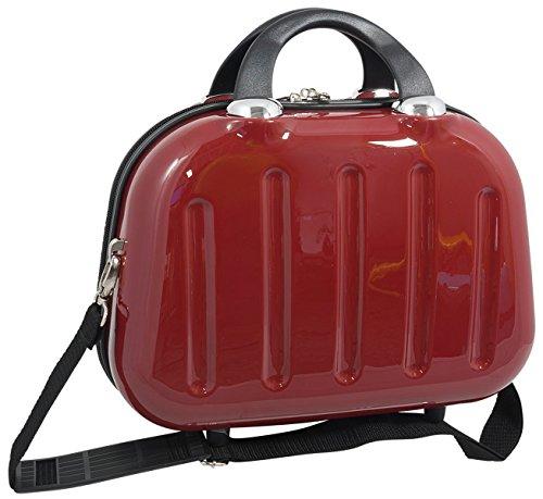 Beautycase Koffer Box Mauritius Rot 34x26x17 cm multi Kosmetikkoffer Kosmetiktasche Beauty Case Schmuckkoffer Reisekoffer mit Trolley befestigung und umhängegurt Bowatex