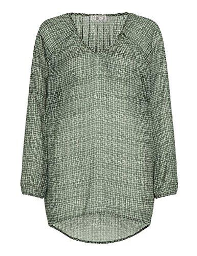 Brigitte von Boch Damen - Sablon Bluse Print Oliv, Größe:38 (Seide Tunika Crinkle)