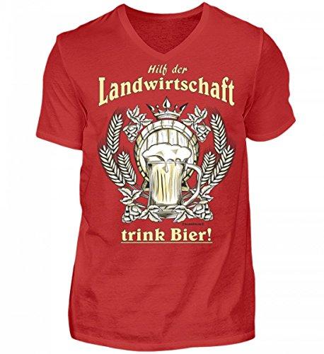Shirtee Hochwertiges Herren V-Neck Landwirtschaft Trink Bier - Das Lustige Geschenk für Bier-Fans - Original Tees-Paradise® Rot