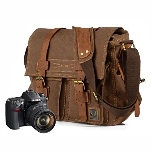 Vintage Kamera Tasche Canvas (Herren Damen Canvas Schultertasche Herren Schultertasche Schultasche Umhängertasche (Kamera tasche braun))