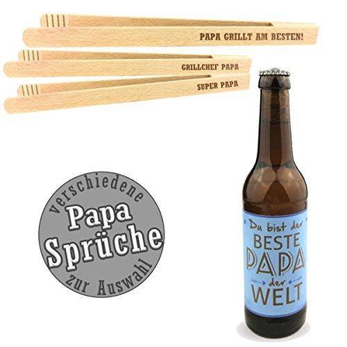 """2-teiliges Geschenkset \""""Papa\""""/mit Bier \""""Du bist der Beste Papa der Welt\""""/Grillzange mit Spruch zum auswählen/Vatertag/Geburtstagsgeschenk/kreatives Geschenk/Männer/Grillen (SUPER PAPA)"""