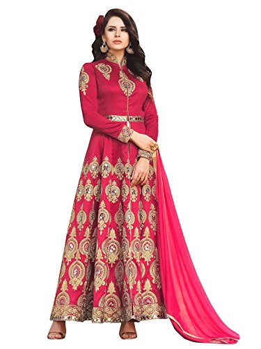 Ethnic Yard Women's Silk Anarkali Salwar Suit Set (Ey-F1106_Red_Free Size)