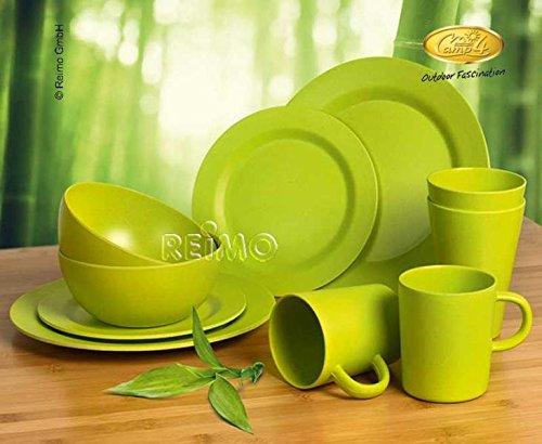 Camp4 Bambus Geschirr-Set LUGO Lime, 10-teilig für 2 Personen